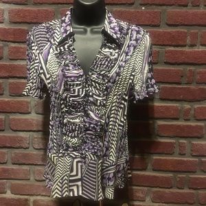Allison Taylor Purple/Black Ruffled Blouse